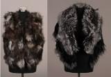 Vest af silverfox samt sort stola af ræv og vaskebjørn. (2)