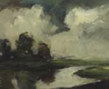 Jose Wolff,  Öl auf Platte, Flusslandschaft
