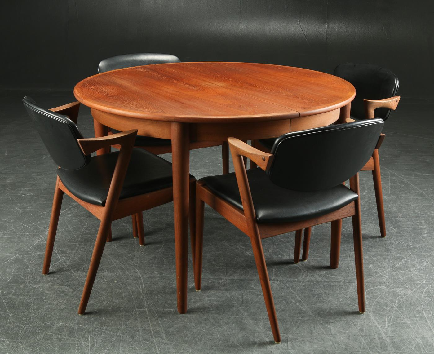 Kai Kristiansen. Fire stole samt spisebord, teak (5