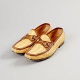 Gucci, loafers i naturfärgad raffia