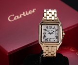 Cartier 'Panthere'. Mid-size ladies watch, 18 kt. gold, with pale dial with date
