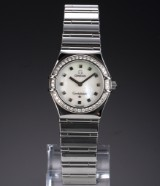 Omega 'Constellation Lady' watch, steel, diamonds, mother-of-pearl dial, c. 1998