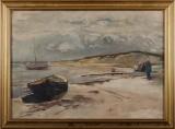 Ubekendt kunstner, olie på lærred, kystparti