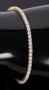 Tennisarmbånd m/ diamanter, 14 kt guld, 4.00 ct