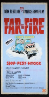 Original hand-painted film poster from family film 'Far Til Fire i Højt Humør'