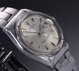 Rolex 'Date'. Vintage men's watch, steel, with silver-coloured dial - test certificate 1965