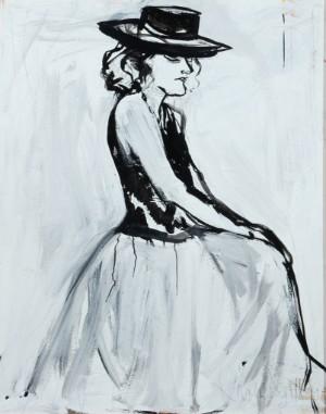 Karen Degett. Ung kvinde med sort hat - Dk, Vejle, Dandyvej - Karen Degett (1954-2011). Ung kvinde med sort hat, olie på plade, sign. Karen Degett. 120 x 98 cm. (124 x 102). Hidrører fra kunstnerens bo. - Dk, Vejle, Dandyvej