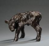 Just Andersen 'Kalv', figur af patineret diskometal