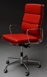 Charles Eames. Office chair with armrests, model EA-219, Ferrari red 'Full Leather'