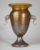 A large Lötz vase with elephant head handles, Candia Papillon, glass