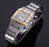 Cartier 'Santos Lady'. Dameur i 18 kt. guld og stål med lys skive, 2000'erne