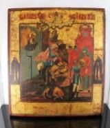 Russisk ikon, æggetempera på træ, 'Johannes Døberens martyrium', 1700-tallet