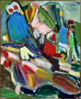 Vibeke Bæk. 'Fuglene', 2001. Akryl på lærred