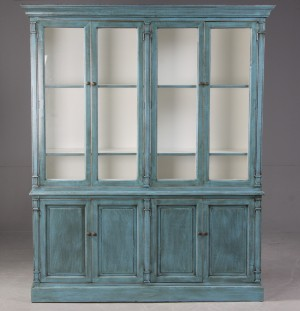 m bel vitrine franz sischer landhausstil blaue antikbemalung dk helsing r. Black Bedroom Furniture Sets. Home Design Ideas