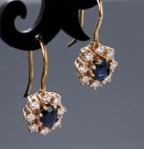 Sixtus Thomsen, Ålborg. Sapphire and brilliant-cut diamond earrings, 14 kt. gold