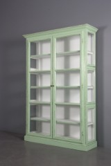 Display cabinet with green antique paint finish