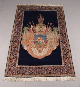 Orientmatta, handknuten, Shahns vapen, Kirman, Persien, 1900-talets mitt
