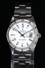 Rolex 'Date'. Herreur af stål, hvid skive og dato, omkring 1993