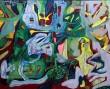 Lars Fantasiformidler Elgidh. Abstrakt dobbeltkomposition 'Kærlighed er ingen valuta'