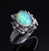 Opal and diamond ring, 18 kt. white gold