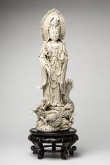 Blanc de Chine, sculpture, Guanyin on dragon, porcelain, wood (2)
