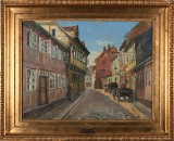 Johan Rohde, oil on canvas, 'Trangstræde i Randers'