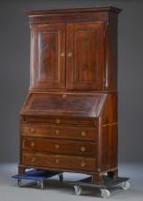 A Danish Louis XVI bureau, mahogany with upper section, late 18th century