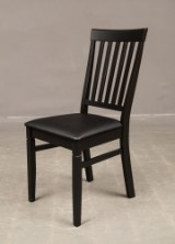Six dining chairs, black wood with imitation leather seats (6)