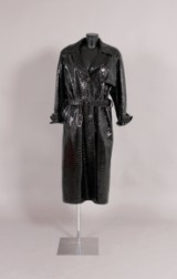 Bruno Magli, leather coat featuring crocodile embossing, size. 42/44