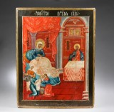 Russian Church Icon. The Birth of the Virgin Mary. 19th century
