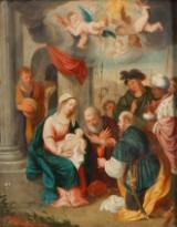 Ubekendt kunstner. Kongerne tilbeder Jesusbarnet, olie på kobber, 1600/1700-tallet
