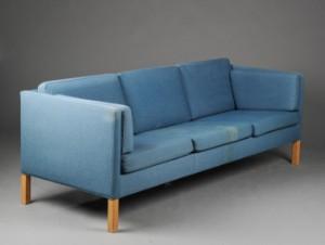 sofa uld Børge Mogensen. Tre personers sofa, model 2443, blåt uld | Lauritz.com sofa uld
