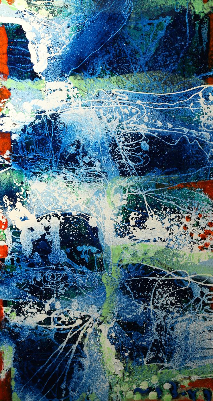 Peter Nyborg, abstrakt komposition olie på lærred, Una Launa Angelo - Abstrakt komposition, Una Launa Angelo olie på lærred, Peter Nyborg, født 1937, sign. Peter Nyborg, 2016, Portofino, 130x70cm (132x72)