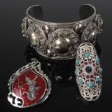 Siam sølv armbånd, broche og ring (3)