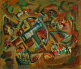 Ubekendt kunstner. Komposition, olie på lærred, 1960