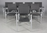 Havemøbler. Otte armstole i sort polyrattan (8)