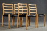 Niels O. Møller, 4 chairs / dining chairs, model 85 in oak for Møllers Møbelfabrik (4)