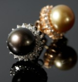 Earrings, 18k gold with South Sea pearls and diamonds