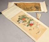 Kinesiske scrolls samt vifte, 1900'tallet (3)