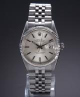 Rolex 'Datejust'. Vintage herreur i stål med sølvfarvet skive, ca. 1966