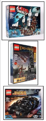 Samling Lego. Ringens Herre 10237, Super Heroes 76023. Movie 70810. (3)
