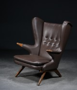 Svend Skipper. Easy chair, brown leather