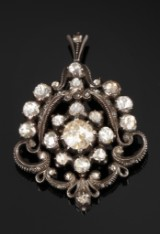 Drop-shape diamond pendant/brooch. Total approx. 3.00 ct. 19th century-second half