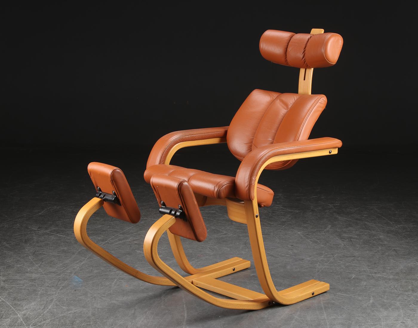 please stor stokke stol i skinn