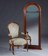 Nyrococo armstol samt spejl, 1800 tallet (2)