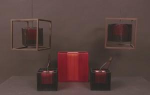 Set lampor, vägg-, bord- samt taklampor, röd 5