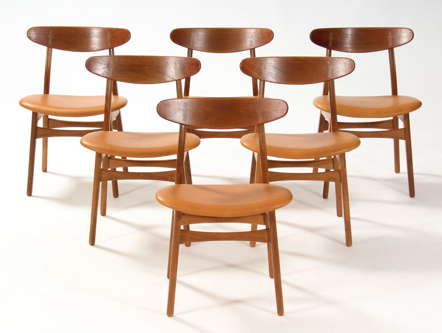 H.J. Wegner. Dining chairs, Model Ch30, reupholstered (6