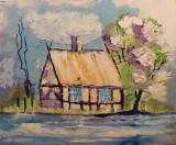 Diana Achtzig, Ölgemälde, 'Haus am See'