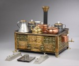 A large doll's house stove, brass with enamel fields, c. 1910 (13)