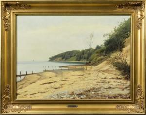 Julius Petersen, strandparti - Dk, Odense, Kratholmvej - Julius Petersen (1851-1911), strandparti, olie på lærred, sign. Julius Petersen, 46x62 cm. (60,5x76 cm). - Dk, Odense, Kratholmvej